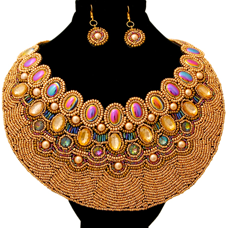 Upscale Jewelry ZFN5215GLDFL ( Bead  And Crystal Round Bib Necklace And Earring Set Featuring Iridescent Beads  )