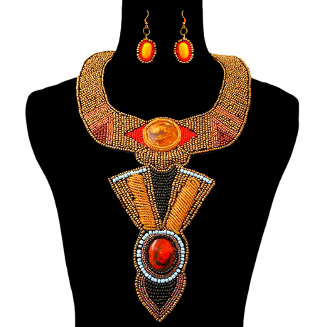 Upscale Jewelry ZFN5220GLDFL ( Beaded Collar Bib Necklace With Long Bib Drop And Earring Set )