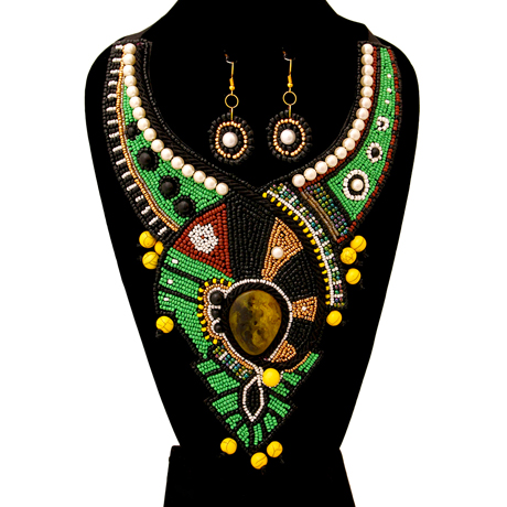 Upscale Jewelry ZFN5225GREFL ( Beaded Bib Necklace And Earring Set With Pearl Detail )
