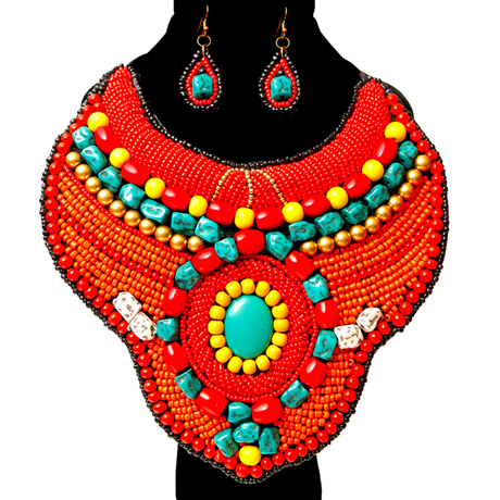Upscale Jewelry ZFN5230REDFL ( Beaded Raised Collar Bib Necklace And Earring Set )