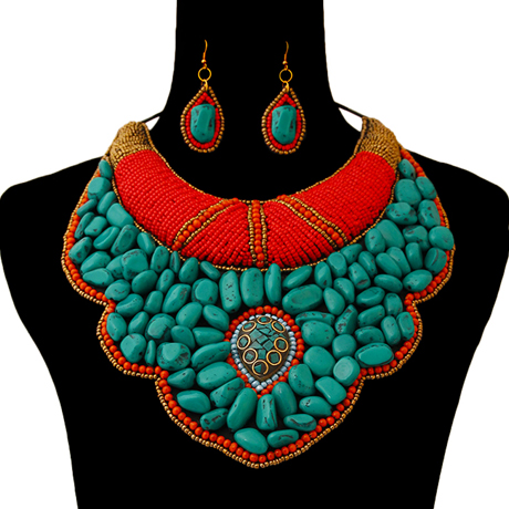 Upscale Jewelry ZFN5230TUQFL ( Beaded Raised Collar Bib Necklace And Earring Set )