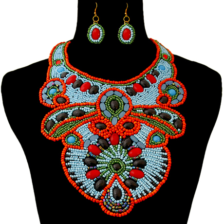 Upscale Jewelry ZFN5235BLUFL ( Beaded Bib Necklace And Earring Set )
