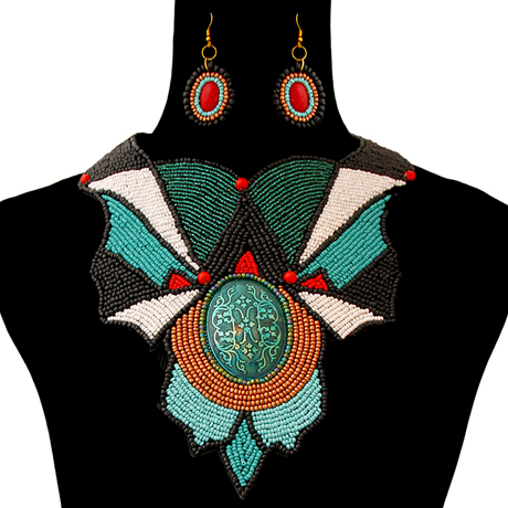 Upscale Jewelry ZFN5240TELFL ( Beaded Bib Necklace And Earring Set )