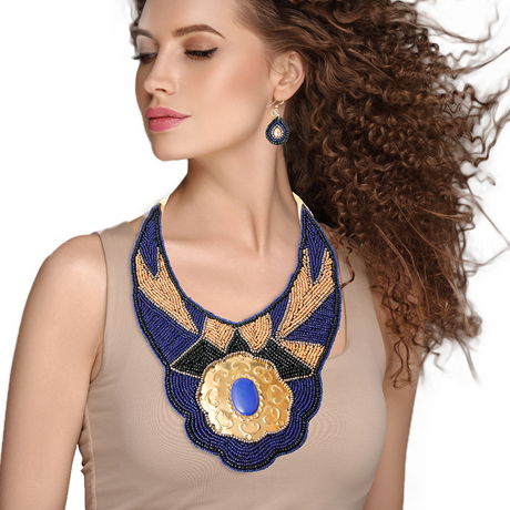 Upscale Jewelry ZFN5250BLUFL ( Beaded Bib Necklace And Earring Set Featuring Stamped Metal Plate Design )