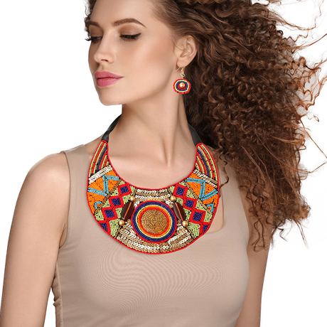 Upscale Jewelry ZFN5250REDFL ( Beaded Bib Necklace And Earring Set Featuring Tribal Etched Metal Plate Design And Sequins )