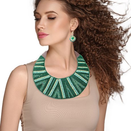 Upscale Jewelry ZFN5265GREFL ( Striped Round Beaded Bib Necklace And Earring Set Featuring Leather Neckline And Snap Closure )