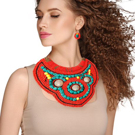 Upscale Jewelry ZFN5275REDFL ( Beaded Bib Necklace And Earring Set )