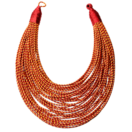Upscale Jewelry SRN001REDMT ( Tribal Layered Wrapped Necklace )