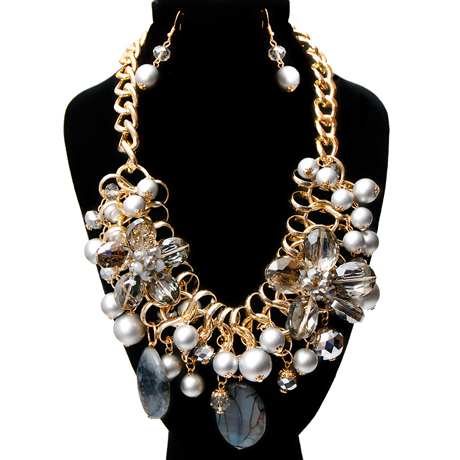 Upscale Jewelry BKN9885TPZGD ( Chunky Chain Necklace And Earring Set )
