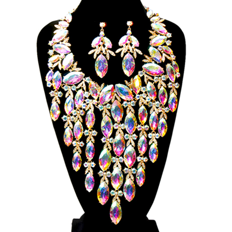 Upscale Jewelry BAN1481ABOGD ( Marquise Crystal Rhinestone Necklace Set Featuring Bow Detail And Long Drop Fringe )