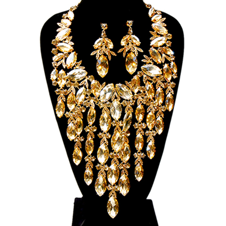 Upscale Jewelry BAN1481TPZGD ( Marquise Crystal Rhinestone Necklace Set Featuring Bow Detail  And Long Drop Fringe )