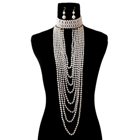 Upscale Jewelry CRN10333CREGD ( Pearl Long Drape Choker Necklace Set )
