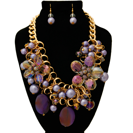 Upscale Jewelry BKN9885PURGD ( Chunky Chain Purple Pearl And Bead Necklace And Earring Set )