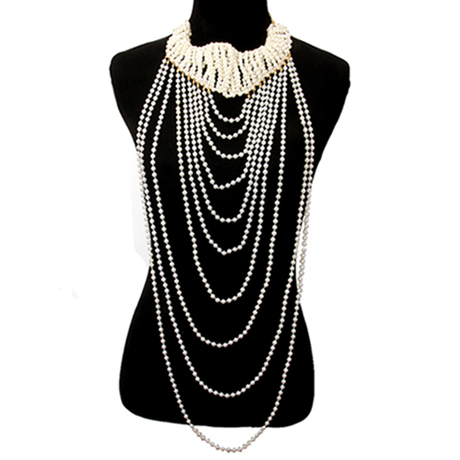 Upscale Jewelry CRN10511CREGD ( Pearl Chunky Necklace Set )