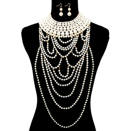 Upscale Jewelry CRN10512CREGD ( Pearl Collar Necklace Set Featuring Long Draping )