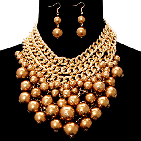 Upscale Jewelry CRN10534TPZGD ( Chunky Pearl Necklace Set )