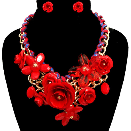 Upscale Jewelry PEN1234REDGD ( Rose Statement Necklace And Earring Set )
