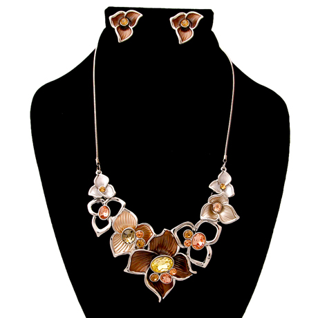 Upscale Jewelry AJN3850OBRORD ( Flower Necklace And Earring Set )