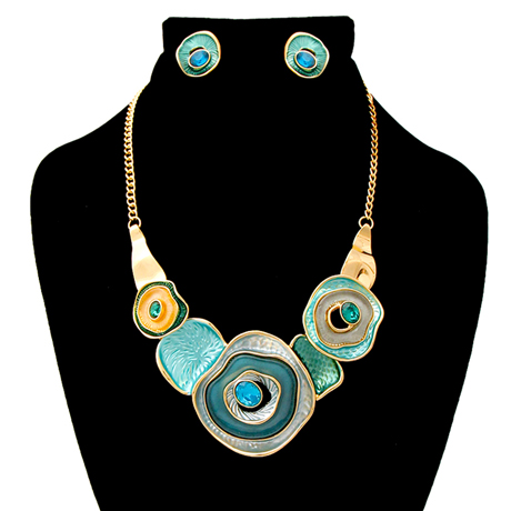 Upscale Jewelry AJN3826TELGD ( Hammered Necklace And Earring Set )