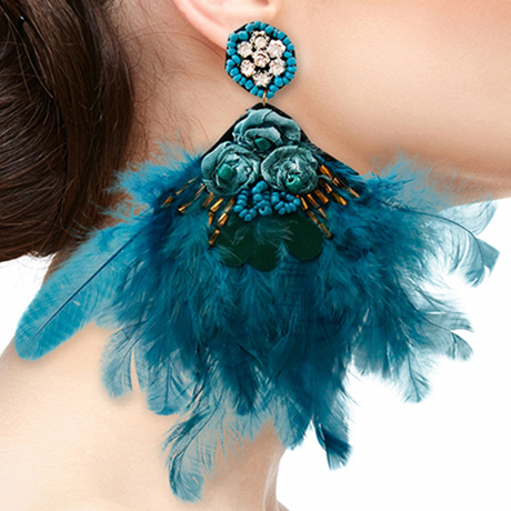 Upscale Jewelry SRE5001PEAMT ( Feather And Rhinestone Drop Earrings )