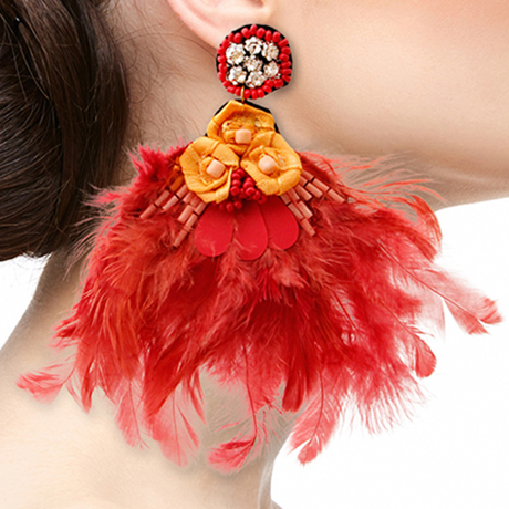 Upscale Jewelry SRE5001REDMT ( Feather And Rhinestone Drop Earrings )