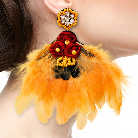Upscale Jewelry SRE5001YELMT ( Feather And Rhinestone Drop Earrings )