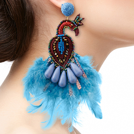 Upscale Jewelry SRE5002BLUMT ( Peacock Bead And Feather Earrings )