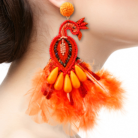 Upscale Jewelry SRE5002ORGMT ( Peacock Bead And Feather Earrings )