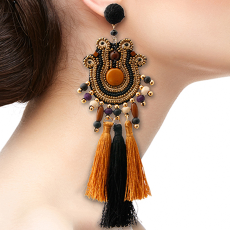 Upscale Jewelry SRE5003BROMT ( Bead And Tassel Tribal Earrings )