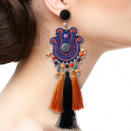 Upscale Jewelry SRE5003PURMT ( Mega Bead And Tassel Tribal Earrings )