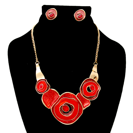 Upscale Jewelry AJN3823REDGD ( Hammered Necklace And Earring Set )