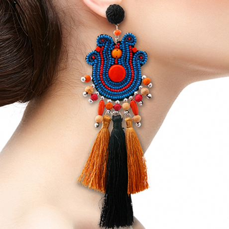 Upscale Jewelry SRE5003REDMT ( Mega Bead And Tassel Tribal Earrings )