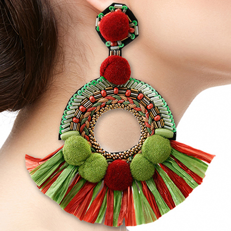 Upscale Jewelry SRE5004GREMT ( Beaded Pom And Tassel Earrings )