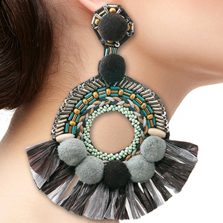 Upscale Jewelry SRE5004GRYMT ( Beaded Pom And Tassel Earrings )