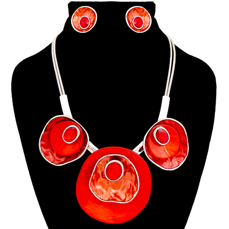 Upscale Jewelry AJN3822REDRD ( Hammered Metal Discs With Crystal and Swirled Circular Details Necklace And Earring Set )