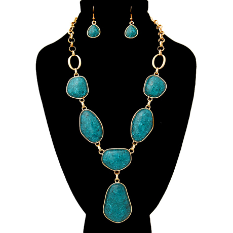 Upscale Jewelry AJN3446TELGD ( Stone Organic Shaped Necklace And Earring Set With Drop Detail )