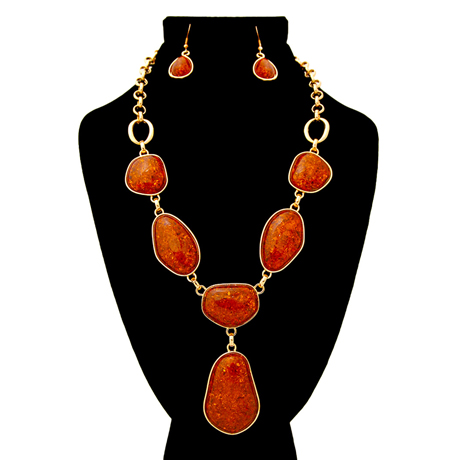 Upscale Jewelry AJN3446BROGD ( Stone Organic Shaped Necklace And Earring Set With Drop Detail )