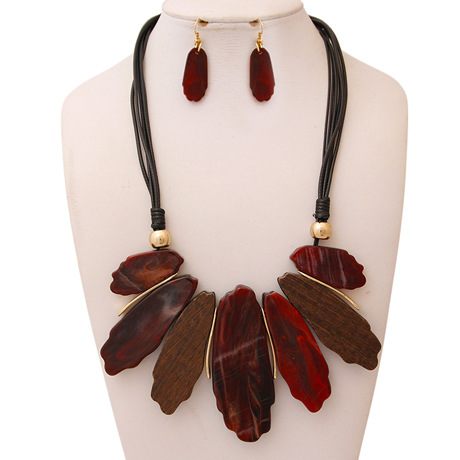 Upscale Jewelry AJN3440BRGGD ( Leather Cord Necklace And Earring Set With Organic Drop And Wooden Details )