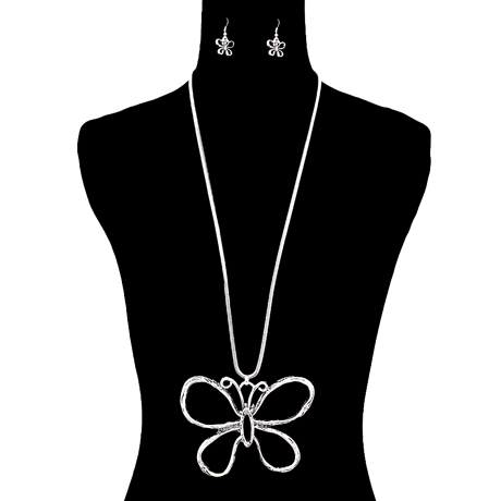 Upscale Jewelry AJN3422SILRD ( Long Chain Necklace And Earring Set With Butterfly Pendant )