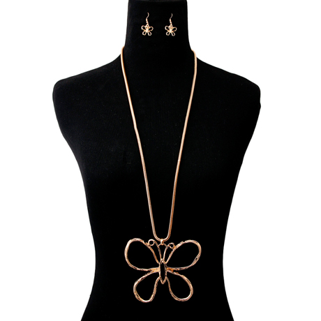Upscale Jewelry AJN3422GLDGD ( Long Chain Necklace And Earring Set With Butterfly Pendant )