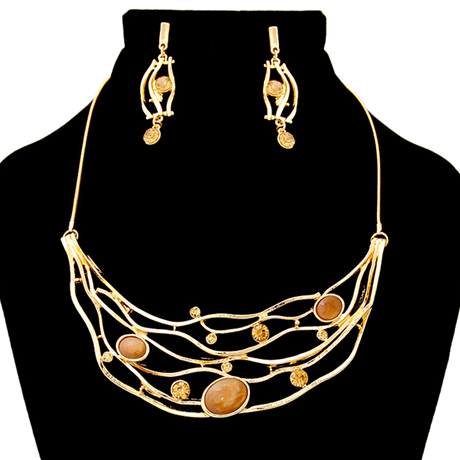 Upscale Jewelry AJN3416BROGD ( Bib Necklace And Earring Set Featuring Rhinestone Detail )