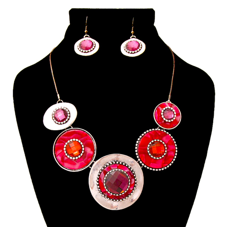 Upscale Jewelry AJN3409PURBS ( Burnished Necklace And Earring Set Featuring Circular Details )