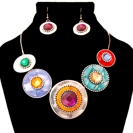 Upscale Jewelry AJN3409MLTBS ( Burnished Necklace And Earring Set Featuring Circular Details )