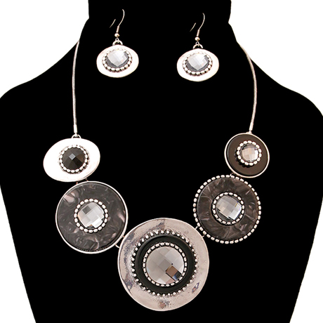 Upscale Jewelry AJN3409BLKBS ( Burnished Necklace And Earring Set Featuring Circular Details )