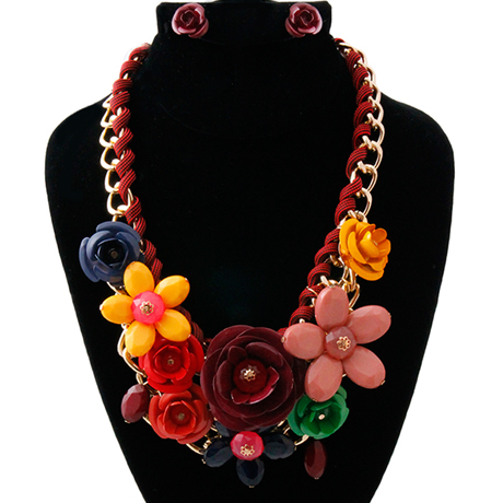 Upscale Jewelry PEN1234MARMT ( Rose Chunky Collar Necklace And Earring Set )