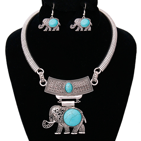 Upscale Jewelry AJN3396TUQBS ( Engraved Burnished Choker And Earring Set With Stone Elephant Pendant )