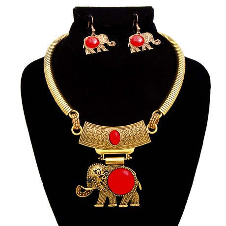 Upscale Jewelry AJN3396REDBG ( Engraved Burnished Choker And Earring Set With Stone Elephant Pendant )