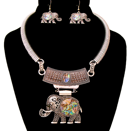 Upscale Jewelry AJN3396ABABS ( Engraved Burnished Choker And Earring Set With Stone Elephant Pendant )