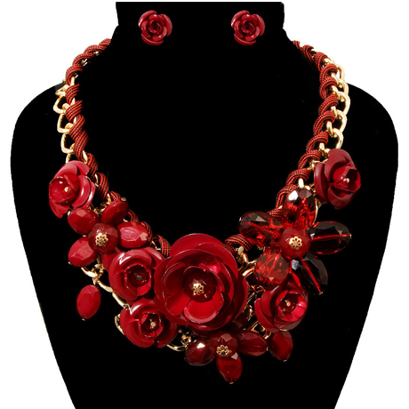 Upscale Jewelry PEN1234BRGGD ( Rose Chunky Collar Necklace And Earring Set )