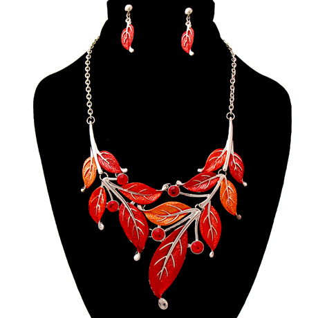 Upscale Jewelry AJN3042REDRD ( Leaf Necklace And Earring Set )